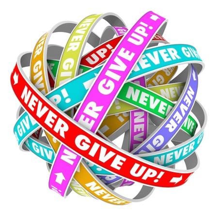 nunca: Las palabras nunca da para arriba en un ciclo sin fin de cintas que ilustran el progreso hacia adelante y sin fin la mejora Foto de archivo