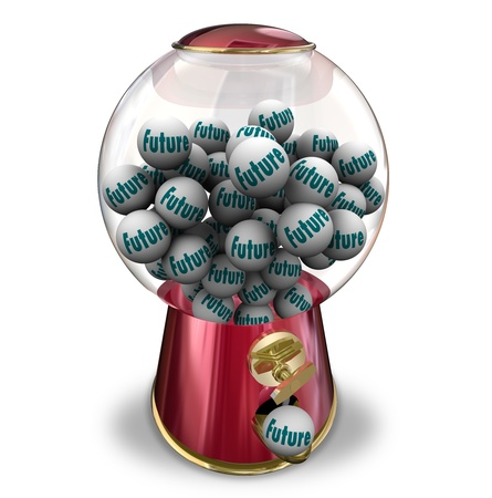 dispensing: The word Future on gumballs dispensed to predict your next actions or fate tomrrow or moving forward Stock Photo