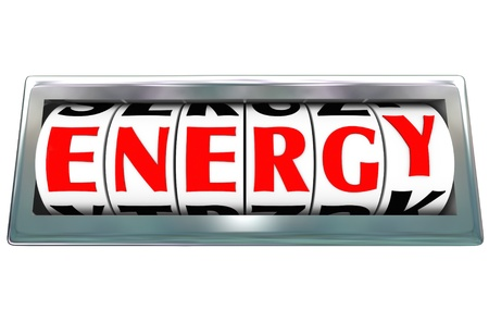 energize: The word Energy on a odometer with letter dials measuring the level of power and physical strength Stock Photo