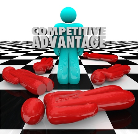superiority: One person stands as the winner with words Competitive Advantage to illustrate superior qualities and characteristics