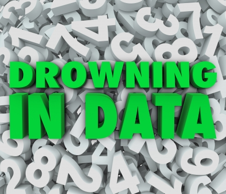 information analysis: The words Drowning in Data on a sea of numbers illustrating an overabundance of numbers that are too overwhelming to understand