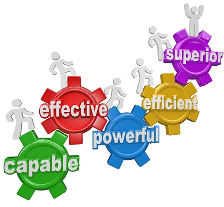 superiority: A team of people or workers climb gears containing the words Capable, Effective, Powerful, Efficient and reaching the top level or step called Superior to illustrate growth and being best