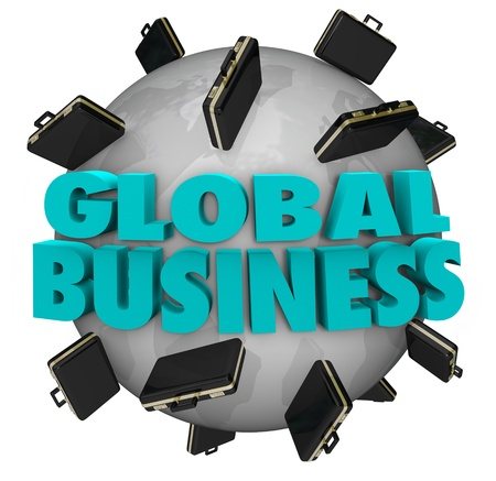 spread around: The words Global Business around a world covered in black leather suitcases to illustrate expanding companies and international growth