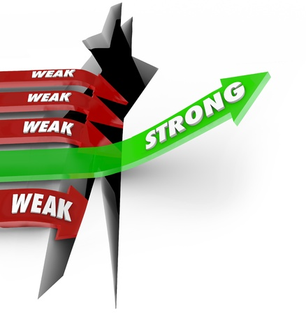 weaker: A unique green arrow with the word Strong rises while several red arrows with the word Weak fall into an abyss to illustrate the importance of power and strength in a competition for business or sports