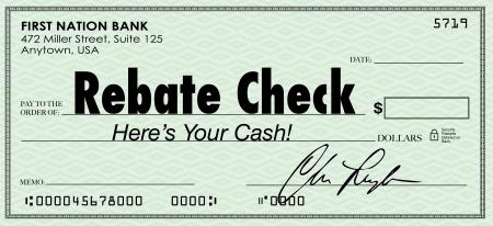 緑チェック リベート チェックを説明する言葉で特別なお金または現金バックを削減提供銀行に入金するために到着 写真素材