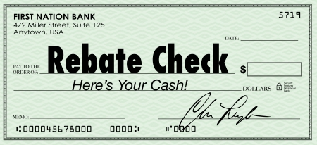 A green check with the words Rebate Check to illustrate a special money or cash back savings offer arriving for you to deposit in the bank photo