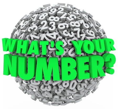 lowest: The question Whats Your Number? on a sphere of numbers to illustrate your budget limit, income level, credit score or other number