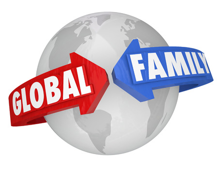 common goals: The words Global Family around the planet Earth to illustrate common goals, environment, society, togetherness and teamwork, all living together in peace in one world