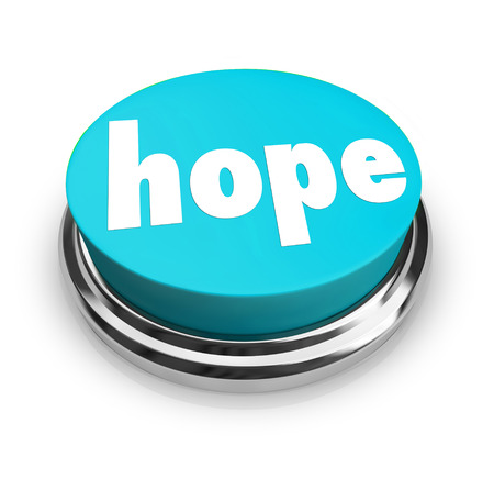 circumstances: A blue round button with the word Hope to illustrate hoping for a better life or outcome, spirituality, religion or an improvement in your circumstances