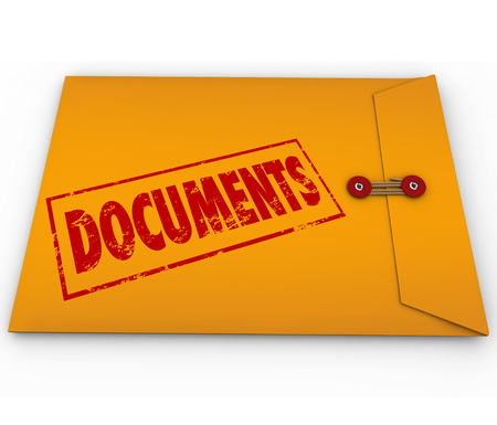 Documents stamped onto a confidential yellow envelope containing important papers, records, historical information, proof or evidence on crucial matters Фото со стока
