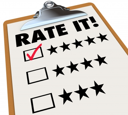 rating: The words Rate It on a clipboard with stars next to ratings or reviews, and a checkmark in a box next to 5 star feedback Stock Photo