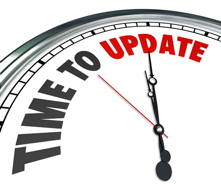 시계를 업데이트 할 수있는 단어 시간, 개선 보수, 갱신하거나 최신 코드를 필요로하는 가정이나 건물 또는 소프트웨어 프로그램이나 애플리케이션에