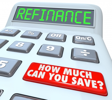 The word Refinance on the display of a digital calculator with a big red button reading How Much Can You Save on your house or mortgage payment photo