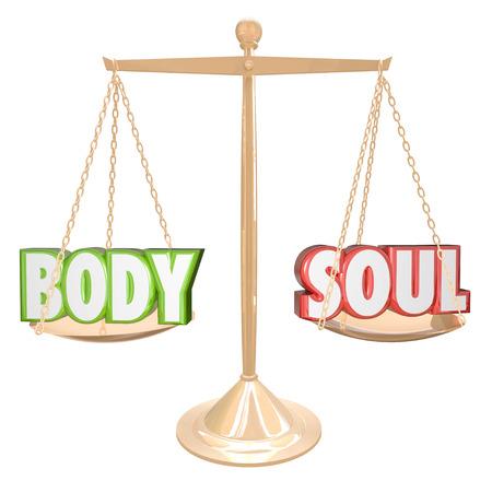 De woorden Body and Soul gewogen op een schaal in perfecte balans aan de doelstelling van volledige gezondheid, vreugde, geluk en vervulling in het leven te illustreren Stockfoto
