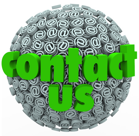opinions: The words Contact Us on a sphere of at or email @ symbols to illustrate customer feedback, comments, support, service and opinions Stock Photo
