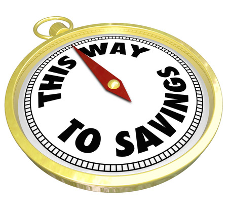 frugal: The words This Way to Savings on a golden compass to advertise a special sale or clearance event where a shopper can save big money