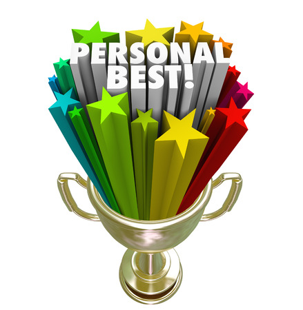 personal record: The words Personal Best in a gold trophy to illustrate a record, accomplishment or achievement in a sporting event or other endeavor