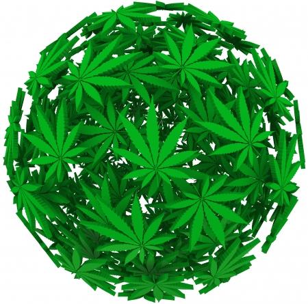 marihuana: La marihuana medicinal deja en un fondo de esfera para ilustrar los usos médicos del cannabis