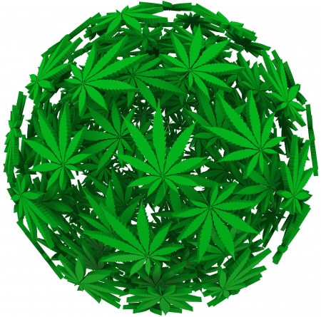 Medicinal marijuana leaves in a sphere background pattern to illustrate medical uses of cannabis photo