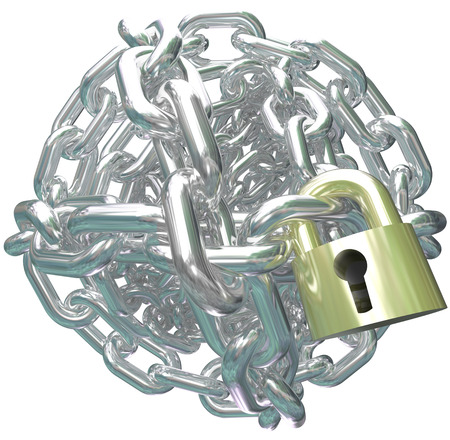 to commit: A ball of shiny metal chain links and golden lock to illustrate committment and contractual obligation