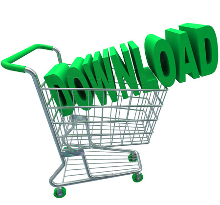 downloadable: A shopping cart with the word Download in it to illustrate purchasing online files or documents and downloading them to your computer over the Internet