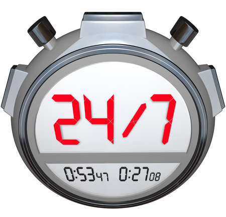 A stopwatch timer with the numbers 24 / 7 to illustrate that a store or website is open or operational everyday all night and every hour