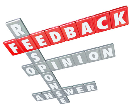 solicitation: The words Feedback, Response, Opinion and Answer on letter tiles to illustrate the importance of customer and business communication, reviews, ratings and suggestions