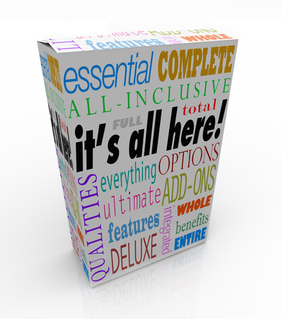 phrases: A product box or package with the words Its All Here and related phrases essential, complete, all-inclusive, total, full, options, qualities, everything deluxe, features and more