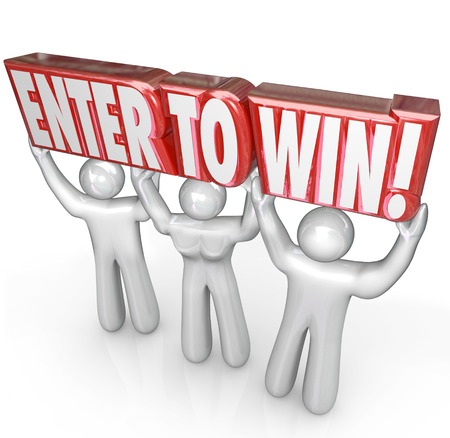 De woorden Enter om te winnen opgeheven door een team van mensen die vertellen u deelnemen aan een spel, wedstrijd of competitie om een winnaar te zijn