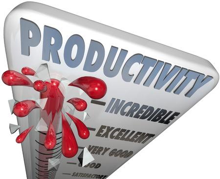productividad: La palabra de la productividad en un termómetro de medición de su nivel de producción, la eficiencia, la producción y la capacidad de producir bienes y servicios y hacer crecer su negocio