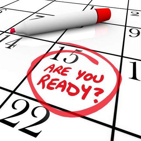 circled: A calendar with the date 15 circled asking Are You Ready to illustrate being prepared or a state of readiness for an important event, appointment or deadline such as tax day Stock Photo