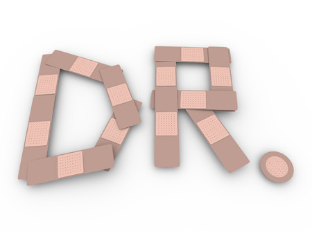 Several latex bandages forming the Dr abbreviation for the word doctor to illustrate healing and medical treatment for pain or injury Stock fotó