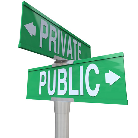 Two way street signs with the words Public and Private comparing your options for being a corporation or choosing privacy over being out in the open Stock fotó - 22869322