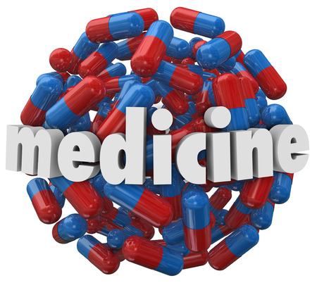 deficiency: The word Medicine on a 3d ball or sphere of prescription pills or capsules