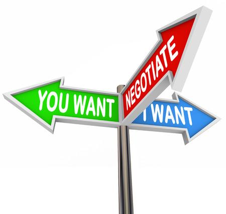 negotiation: Llegar a un acuerdo a trav�s de negociaciones ilustrado por tres se�ales de tr�fico o en la calle con las palabras que quiero, yo quiero, negociar