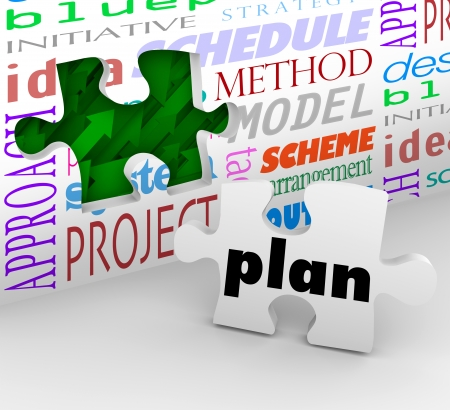 arrange: The word Plan on a puzzle piece fills in a hole in a wall full of words such as strategy, idea, initiative, project, sheme, method, model and schedule to help you achieve a goal Stock Photo