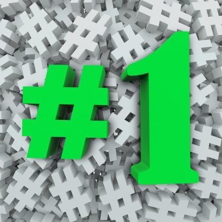numero uno: Un simbolo di cancelletto o segni hashtag ei ??personaggi # 1 o il numero uno di illustrare pi� popolare, migliore, superiore, priorit� o preferito in un sondaggio o di ranking Archivio Fotografico