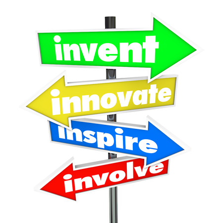 involve: The words Invent, Innovate, Inspire, Involve on colorful road or street signs pointing you in a direction for new ideas and innovation