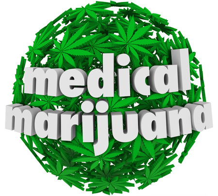 The words Medical Marijuana on a sphere of green pot leaves to advertise a legal pharmacy offering mj as a prescription for various health conditions photo