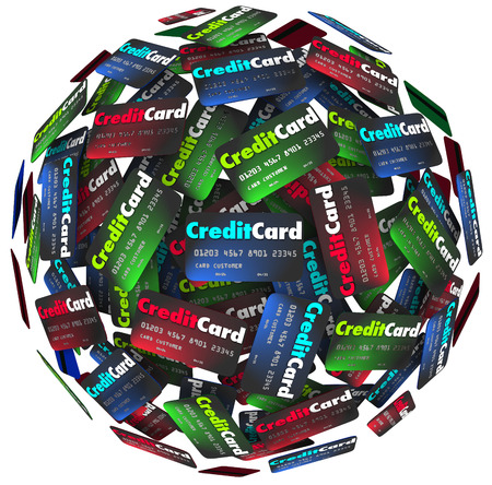 borrowing: Many credit cards in a sphere or round to illustrate borrowing money to purchase merchandise that you will pay for later