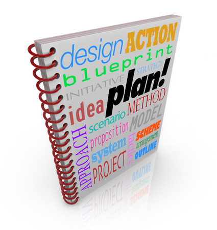 strategize: A book cover with words such as plan, action, strategy, approach and system to illustrate managing a business