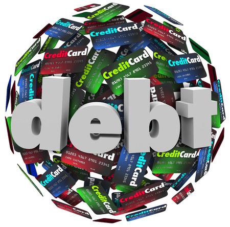 ontbering: Het woord schuld in 3d letters op een bal of bol van creditcards te illustreren zijn achter in de rekeningen betalen van verschuldigde geld, faillissement of financiële problemen Stockfoto