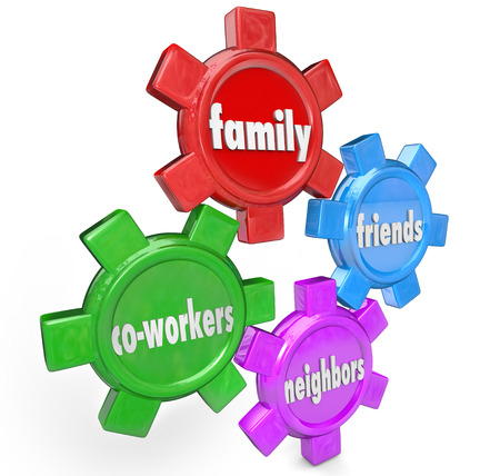 The words Family, Friends, Neighbors and Co-Workers on gears to illustrate a support system of people who are close to you and will help in times of need 스톡 콘텐츠