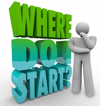 empezar: Un hombre piensa en la pregunta �Por d�nde empiezo para ilustrar la confusi�n y la necesidad de un plan de un proyecto, una carrera o la vida
