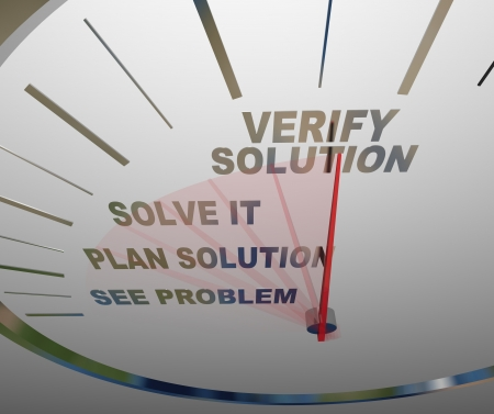 problem solved: A white speedometer with the words See Problem, Plan Solution, Solve It and Verify Solution to illustrate the steps of identifying and issue and taking action to reach a resolution