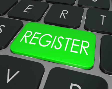 atender: La palabra clave de Registro en un teclado de computadora verde para ilustrar el comercio electr�nico o la firma de entrar a participar en un nuevo sitio web, tienda, o asistir a un evento