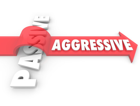 An arrow with the word Aggressive jumps over the term Passive to illustrate the power and strength of an active, positive attitude over a demeanor of laziness or inaction Stock Photo - 22869472