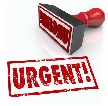 required: The word Urgent on a red rubber stamp to illustrate an emergency or action required as a top crucial priority or vital document to sign and return