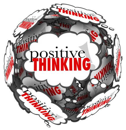 uplifting: Las palabras pensamiento positivo en las nubes de pensamiento que representan una gran actitud es importante para alcanzar el �xito y lograr sus metas Foto de archivo