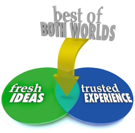 중복 원과 단어 신선한 아이디어와 신뢰할 수있는 경험을 교차와 벤 다이어그램에서 두 세계의 베스트는 이상적인 서비스 제공 업체 또는 후보를 선택 스톡 콘텐츠